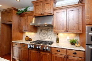 Kitchen Cabinets with 6 Burner Gas Cook Top & Lighted Exhaust Hood